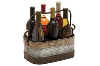 Galvanized Metal Wine Holder