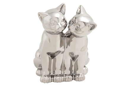 Silver Ceramic Cat Sculpture