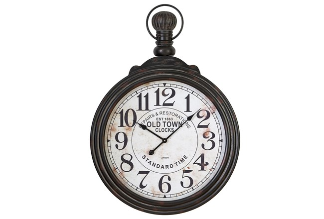 28 Inch Wooden Wall Clock - 360
