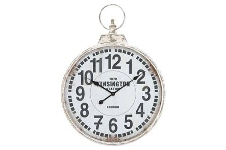 24 Inch Silver Metal Wall Clock
