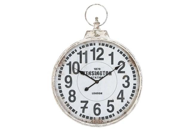 24 Inch Silver Metal Wall Clock - 360