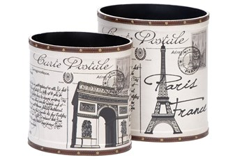2 Piece Set Parisian Wood & Leather Cans