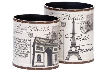 2 Piece Set Parisian Wood & Leather Cans