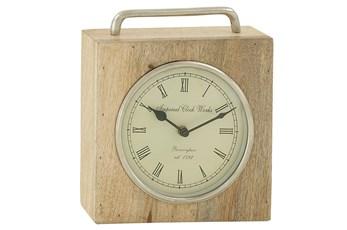 9 Inch Wood & Metal Table Clock