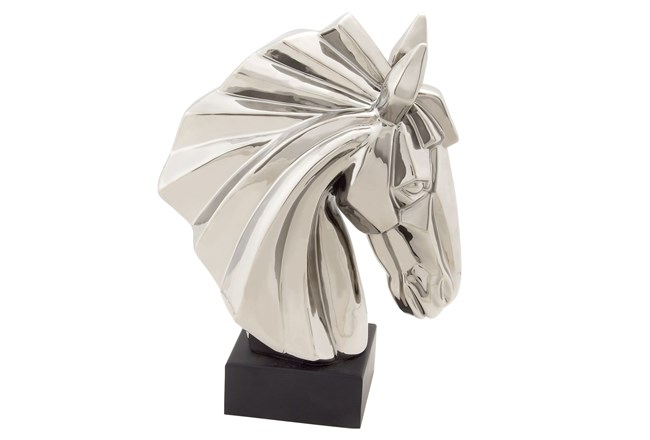 Silver Ceramic Horse Head On Stand - 360
