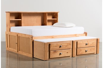 Summit Caramel Full Roomsaver Bed With 2- Drawer Captains Trundle