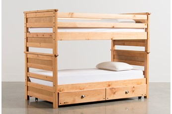 Summit Caramel Twin Over Twin Bunk Bed With Trundle With Mattress