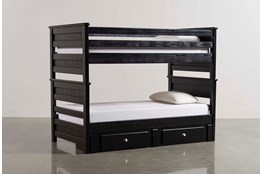 Summit Black Twin Over Twin Bunk Bed With 2- Drawer Underbed Storage