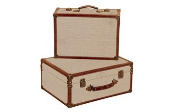 2 Piece Set Burlap Boxes