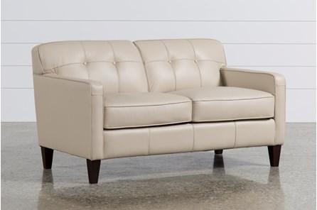 Madison Taupe Leather Loveseat