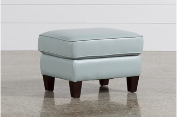 Phoebe Blue Leather Ottoman