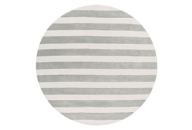 96 Inch Round Rug-Rugby Light Grey/White - 360