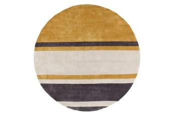 96 Inch Round Rug-Benjamin Stripe Gold/Charcoal