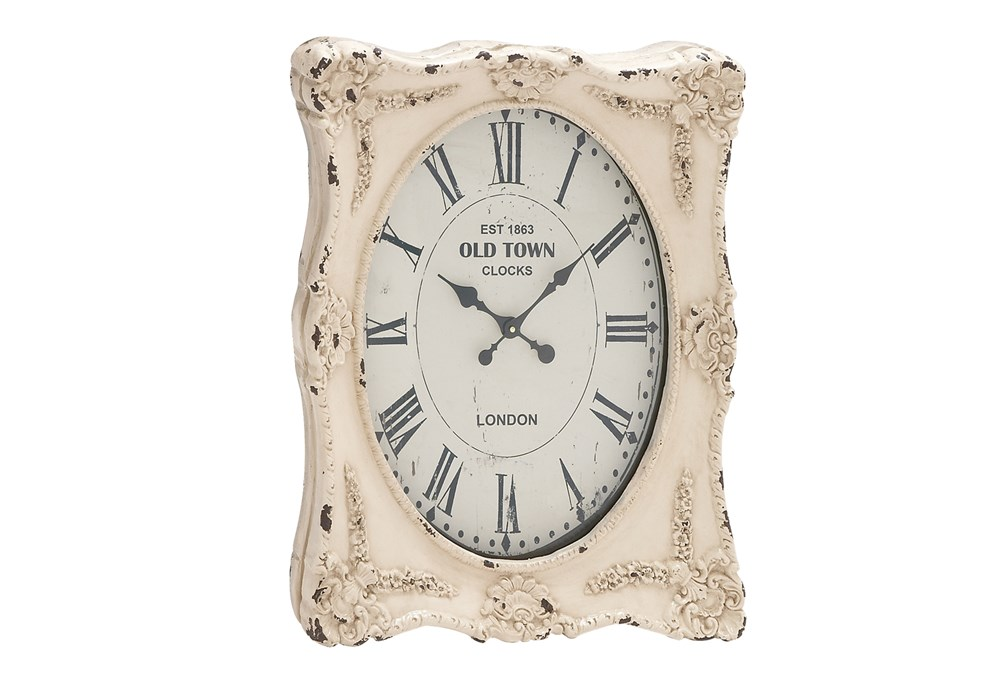 27 Inch White Wash Wall Clock