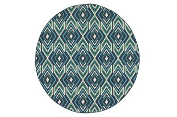 94 Inch Round Outdoor Rug-West Bay Ikat