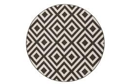 63 Inch Round Rug-Hortensia Black