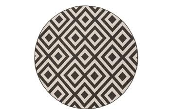 87 Inch Round Rug-Hortensia Black