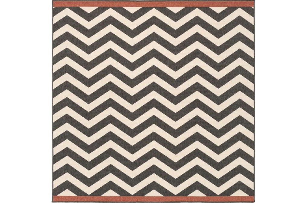 87X87 Square Rug-Tendu Chevron Black