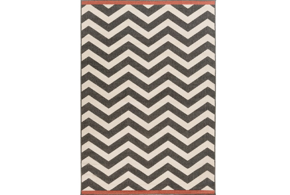 90X129 Rug-Tendu Chevron Black