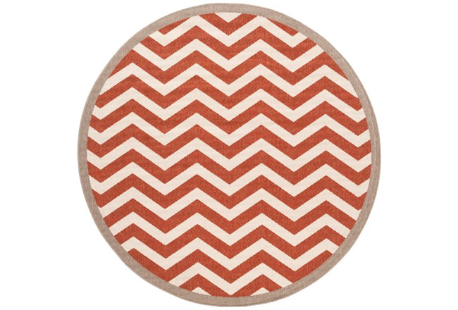 63 Inch Round Rug-Tendu Chevron Red - 360