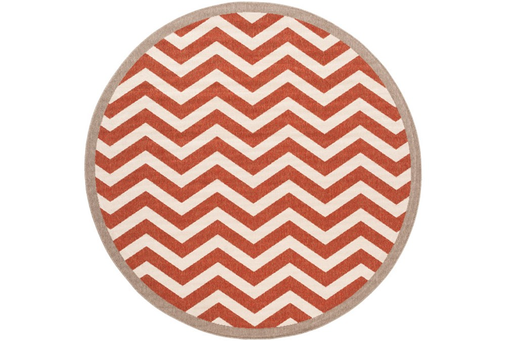 87 Inch Round Rug-Tendu Chevron Red