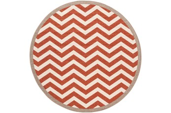 105 Inch Round Rug-Tendu Chevron Red