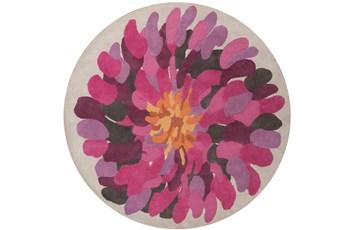 96 Inch Round Rug-Chrysanthemum Magenta