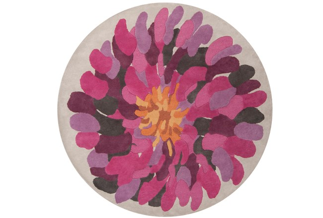 96 Inch Round Rug-Chrysanthemum Magenta - 360