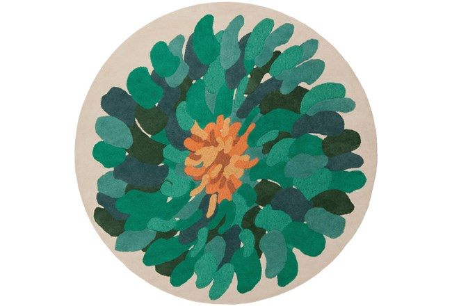 96 Inch Round Rug-Chrysanthemum Emerald - 360