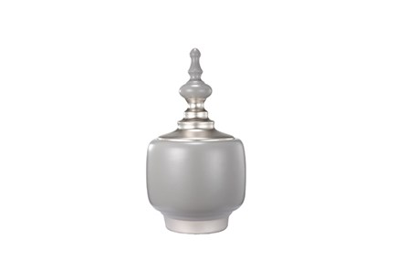 13 Inch Ceramic White/Grey Vase