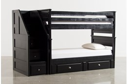Summit Blk Twin Over Twin Bunk Bed With Trundle/Matt & Stair Chest