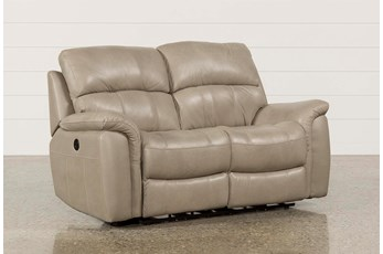 Joel Putty Leather Power Reclining Loveseat