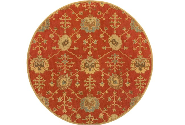 117 Inch Round Rug-Callaby Red - 360