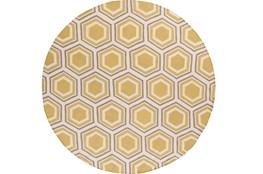 96 Inch Round Rug-Shell Gold/Grey