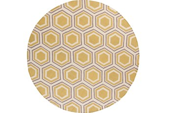 96 Inch Round Rug-Shell Gold/Grey