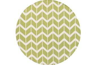 96 Inch Round Rug-Azibo Green Chevron