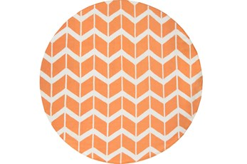 96 Inch Round Rug-Azibo Orange Chevron
