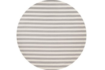 94 Inch Round Rug-Karah Grey Stripe