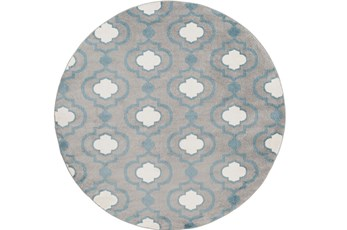 94 Inch Round Rug-Quatrefoil Layers Slate