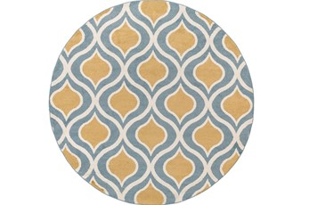 94 Inch Round Rug-Ornate Gold/Blue