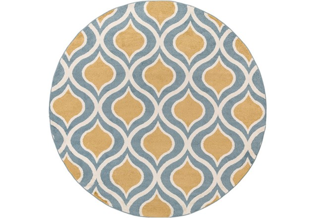 94 Inch Round Rug-Ornate Gold/Blue - 360