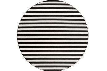 94 Inch Round Rug-Karah Stripe Black