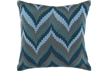 Accent Pillow-Dark Blue Chevron Waves 22X22