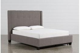 Damon Stone Queen Upholstered Platform Bed W/Storage