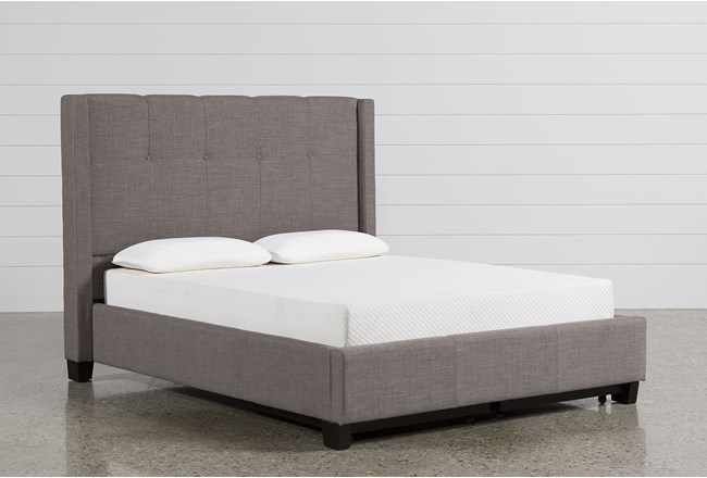 Damon Stone Queen Upholstered Platform Bed W/Storage - 360