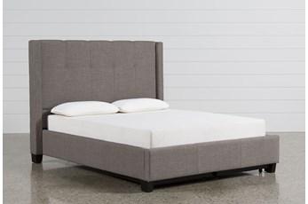Damon Stone Eastern King Upholstered Platform Bed W/Storage