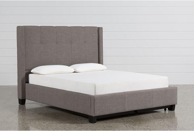 Damon Stone Eastern King Upholstered Platform Bed W/Storage - 360