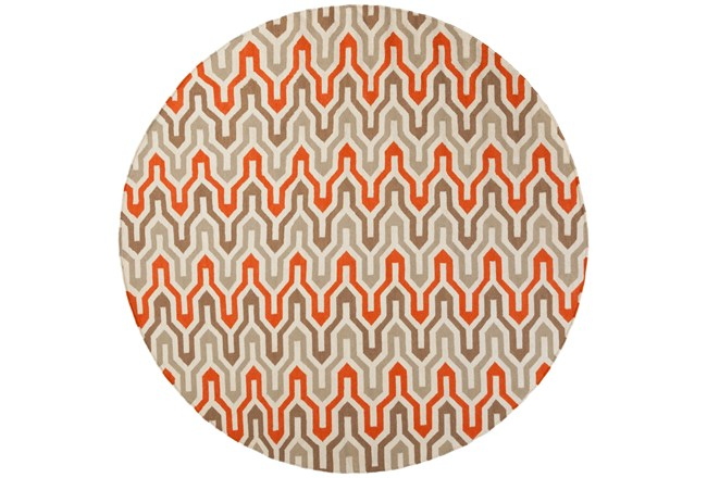 96 Inch Round Rug-Andres Taupe/Tangerine - 360