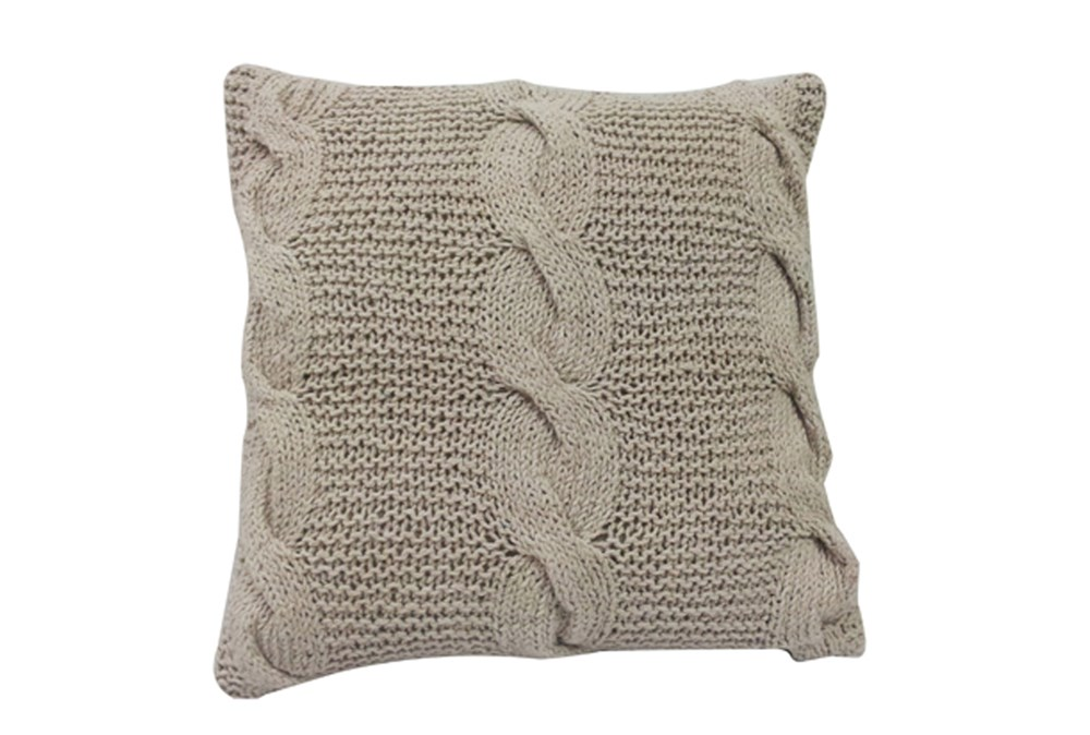 Accent Pillow-Carey Taupe Knit 18X18