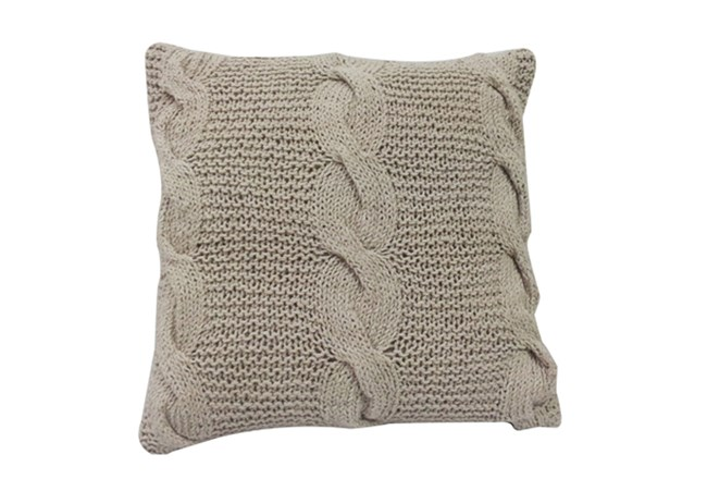 Accent Pillow-Carey Taupe Knit 18X18 - 360